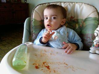 Liam having dinner