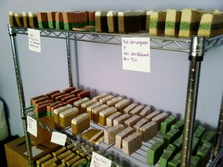 Racks of soap